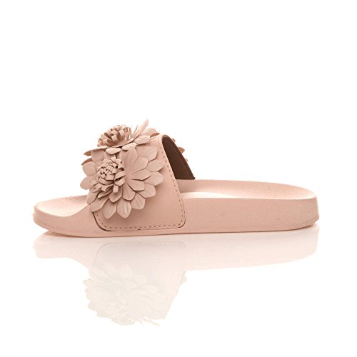 Ajvani Pointure Pantoufles Claquettes Fleur Mules Chaussons Plat Sandales Fourrure Femmes Rose Tongs rxq8zrw