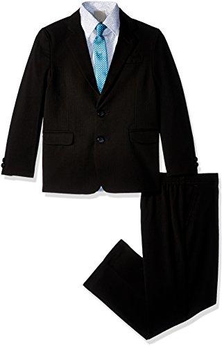Kenneth Cole Boys' Toddler 4-Piece Dress Suit Set, Black Stripes, 4T