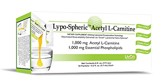 Lypo Spheric Acetyl L Carnitine , 0.2 fl oz. 30 Packets | 1,000 mg Acetyl L Carnitine and Essential Phospholipids Per Packet | Liposome Encapsulated for Maximum Bioavailability | 100% Non GMO