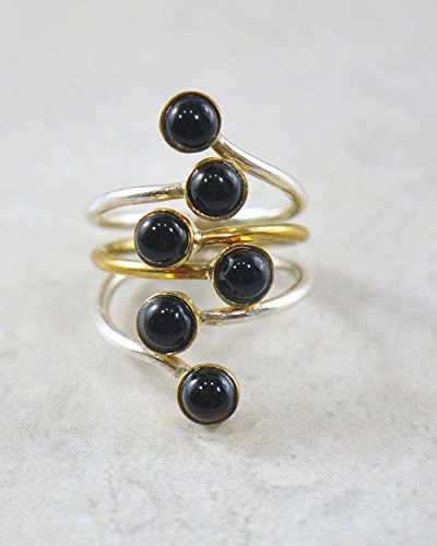 SIVALYA Morocco Long Knuckle Designer Ring in Two Tone Sterling Silver with Black Onyx Gemstones, A stunning statement ring in solid silver, Size 7, Great Gift for (Tone Onyx)