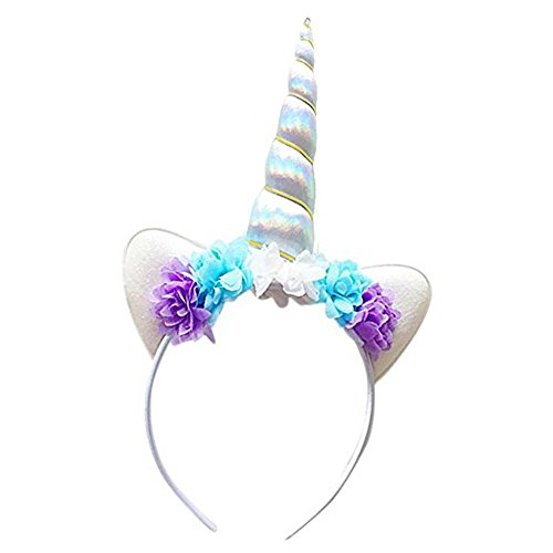 Unicorn Headband Shiny White Unicorn Horn Lace Flowers Ears Headband Unicorn Birthday Party Decoration Cosplay - Shop Brisbane Nz