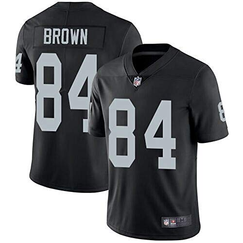 Mitchell & Ness Oakland Raiders #84 Antonio Brown Men's Limited White Stitch Jersey (Black, M)