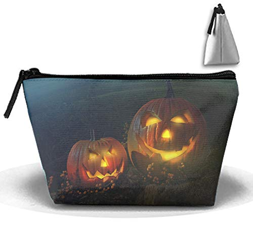 Trapezoidal Strorege Bag Scary Halloween Pumpkin Makeup Pouch Durable Travel Bag with Zipper]()