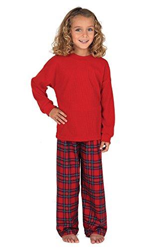 PajamaGram Big Girls' Stewart Plaid Pajamas with Red Top
