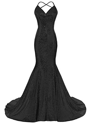(DYS Women's Sequins Mermaid Prom Dress Spaghetti Straps V Neck Backless Gowns Black US 2)