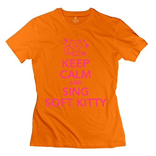 RILI Women's Keep Calm Sing Soft Kitty T-shirt Size L Orange