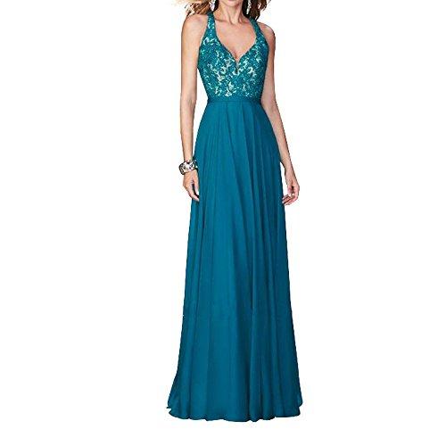 V Zwei Dunkel Ballkleider Chiffon linie Neu Partykleider Bodenlang ausschnitt Blau Sexy Damen Abendkleider Charmant A traeger Ew6Cq1gxEn