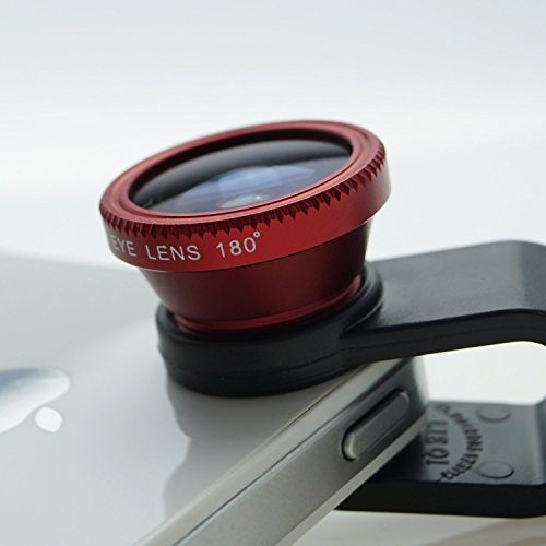 toogou 3 in 1 Clip-On 180 Degree Supreme Fisheye + 0.65X Wide Angle+ 10X Macro Lens For iPhone 6 6 Plus, iPhone 5 5S 4 4S Samsung HTC Blackberry and All Phones Camera (Red) (Jelly Lens Iphone Filter compare prices)