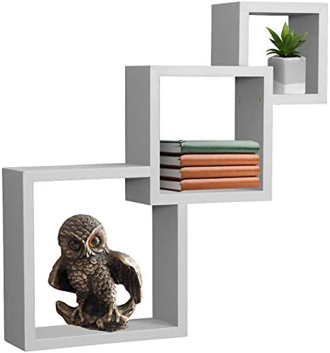 Sorbus Floating Shelf Square Interlocking Cubes with 3 Openings Decorative Wall Shelves Hanging Display for Photo Frames, Collectibles, and Home D cor Interlocking 3-Tier Cube White