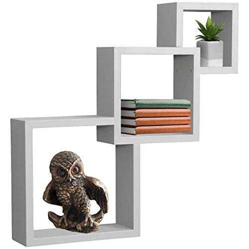 Sorbus Floating Shelf Square Interlocking Cubes with 3 Openings - Decorative Wall Shelves Hanging Display for Photo Frames, Collectibles, and Home Décor (Interlocking 3-Tier Cube - White)