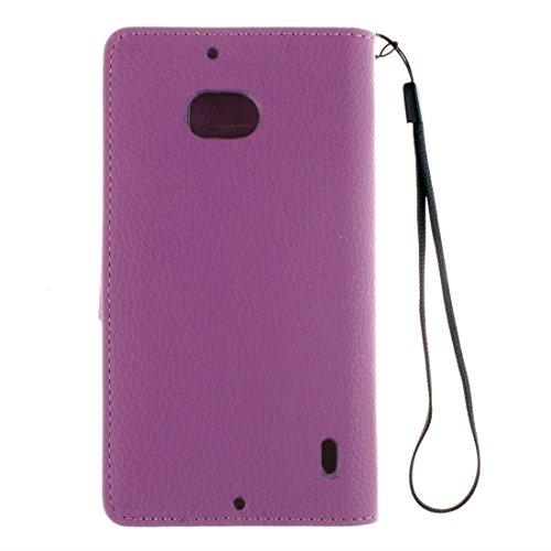 Para Nokia Lumia 930 Litchi Textura horizontal Flip de cuero Carpeta de la caja de la cartera con el titular y la tarjeta de ranuras y billetera y marco de fotos y cordón by diebelleu ( Color : Blue ) Purple