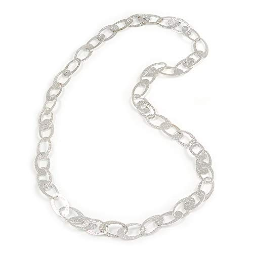 Statement Hammered Oval Link Long Necklace in Light Silver Tone - 82cm L