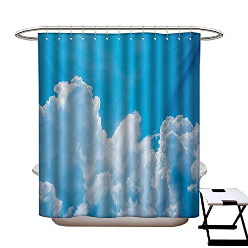 Body Image Shower Cap - Clouds Shower Curtains 3D Digital Printing Crystal Clouds in The Sky Heavenly Life Hope Symbol Surface of Planetary Body Image Custom Made Shower Curtain W48 x L72 Blue White