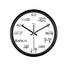Kinger_Home 12-inch Metal Math Wall Clock , Unique Wall Clock Modern Design Novelty Maths Equation Clock ,Each Hour Marked By a Simple Math Equation (White)