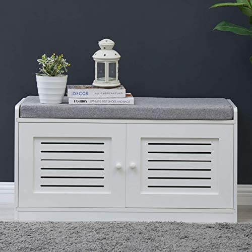 Sturdis Shoe Storage Bench White – Cushion Seat – Adjustable Shelves – Soft-Close Hinges – for Comfort Style, Perfect for Entryway First Impression