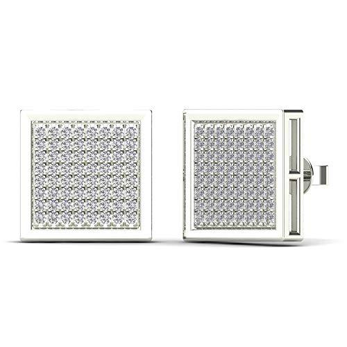 JewelAngel Men's 10K White Gold 3/8ct TDW Diamond Square Stud Earrings (H-I, I1-I2)