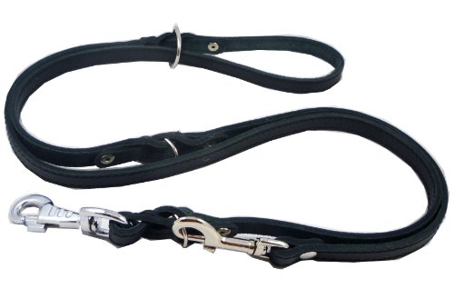 6 Way European Multifunctional Leather Dog Leash Braided, Adjustable Schutzhund Lead Black 42