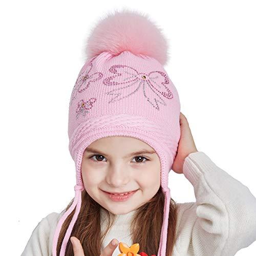(SOMALER Toddler Kids Winter Ear Flap Beanie Hat Boy Girl Fur Pompom Knit Hats)