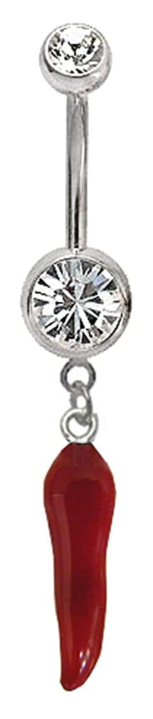Surgical steel belly button ring with silver charm pepper
