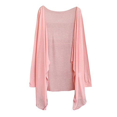 Drape Print Neck Shell (Syban Summer Women Long Thin Cardigan Modal Sun Protection Clothing Tops (Free Size, Pink-1))