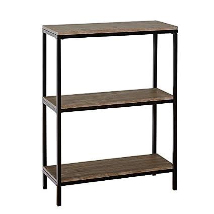 Amazon Com Metal Frame Bookcase 3 Wood Tier Bookcase