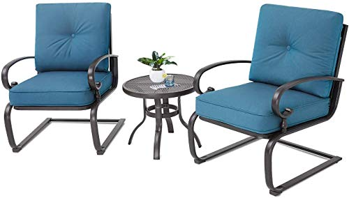 Oakmont Outdoor Bistro Set 3-Piece Spring Metal Lounge Cushioned Chairs and Bistro Table Set Wrought Iron Cafe Furniture Seat,Peacock Blue