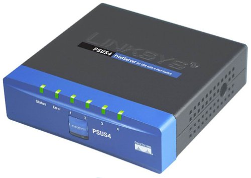 Cisco-Linksys PSUS4 PrintServer for USB with 4 Port Switch by Linksys