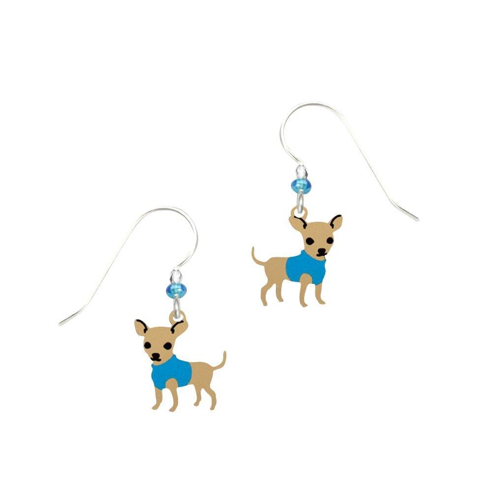 Sienna Sky Artisan Hugo Chihuahua w/Blue Coat Earrings with Gift Box