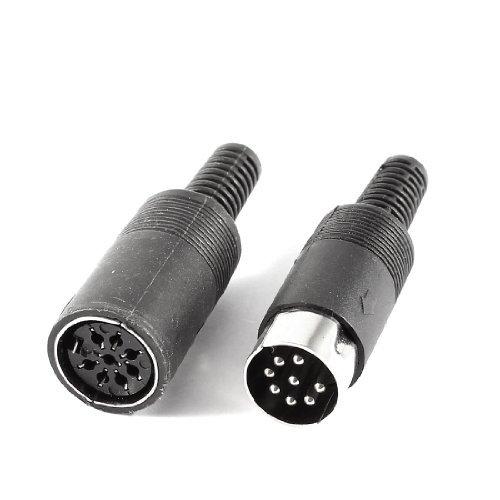 Water & Wood Pair Black DIN 8 Pin Female + Male Plug Socket Audio AV Connector