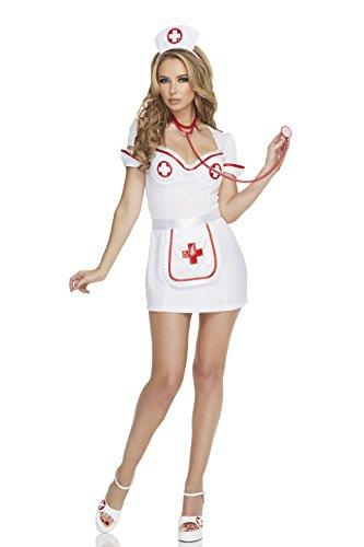[Mystery House Women's Flirty Nurse, White, Medium] (Hollywood Themed Costumes Women)