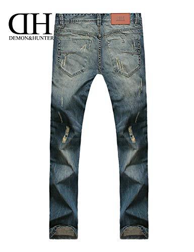 Estilo Stretch Pantaloni Especial Blau Retro Series Casual Straight Moda Jeans Cut Uomo Fit 802r tHwvFq7pv