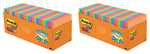 Post-it Super Sticky Notes, Orange, Green, Blue, Pink, Yellow, 2X The Sticking Power, Great for Windows, Doors and Walls, Value Pack, 3 in. x 3 in, 24 Pads/Pack, 70 Sheets/Pad (654-24SSAU-CP), 2 Pack by Post-it (Image #3)