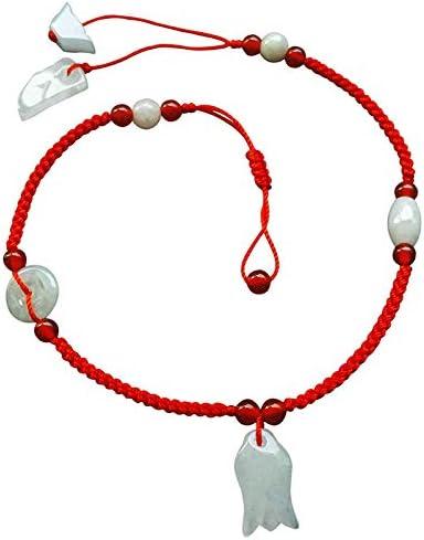 HYKJ Natural Jade Rojo Cuerda Cadena de Tobillo Magnolia Flor Colgante Cadena de Cadena roja Cuerda Pulsera de Las Mujeres Regalo de Las Mujeres
