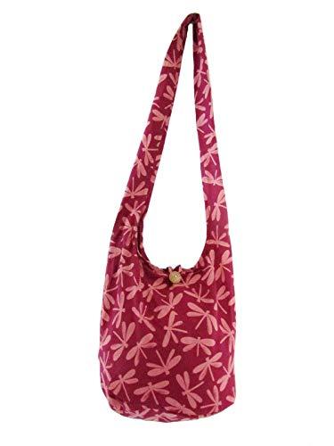 Dragonfly Sling Bag - Print Crossbody Shoulder Bag, Bohemian Thai Hippie Hobo Cotton Purse, Lightweight, Medium (Mauve)