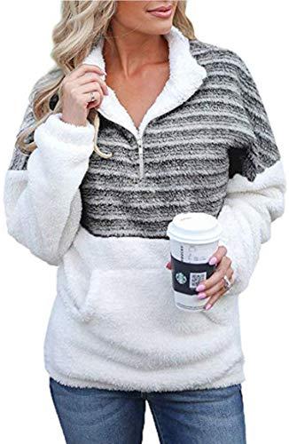Angashion Womens Long Sleeve Half Zip Fuzzy Fleece Pullover Jacket Outwear Sweatshirt Tops Coat with Pocket 324 Black S