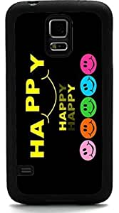 Rikki KnightTM Happy Happy Happy Colored Smileys Design Samsung? Galaxy S5 Case Cover (Black Rubber with front Bumper Protection) for Samsung Galaxy S5 i9600