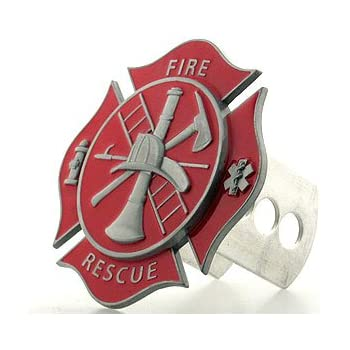 Support Firefighters METAL emblem on brushed METAL Hitch Cover Fire AMG Auto Emblems chrome /& red