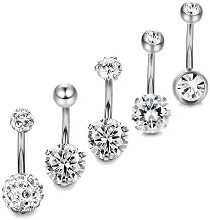 Thunaraz 5-10pcs 14G Stainless Steel Belly Button Rings for Women Crystal CZ Ball Screw Navel Bars