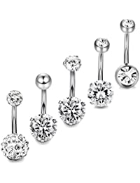 5-10pcs 14G Stainless Steel Belly Button Rings for Women Crystal CZ Ball Screw Navel Bars