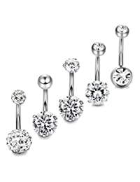 Thunaraz 5-10pcs 14G Stainless Steel Belly Button Rings for Women Crystal CZ Ball Screw Navel Bars