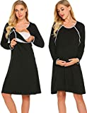 Ekouaer Nursing Nightgown Nightdress Hospital Gown Delivery/Labor/Maternity/Pregnancy Soft Breastfeeding Dress,Cblack,Medium
