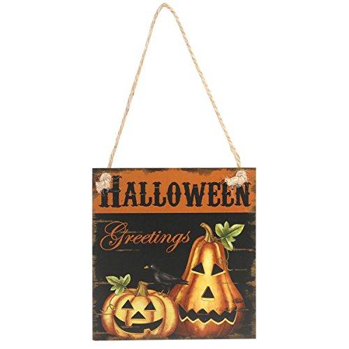 kjkjere Happy Halloween Greeting Hanging Door Haunted House Decor Wall Sign -