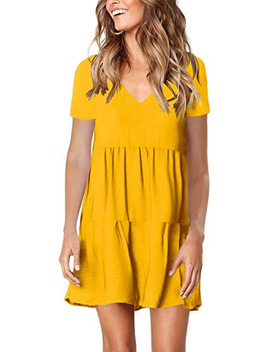 Amoretu Women's Cute V-Necks Short Sleeve Casual Tunic Dress for Summer Yellow M
