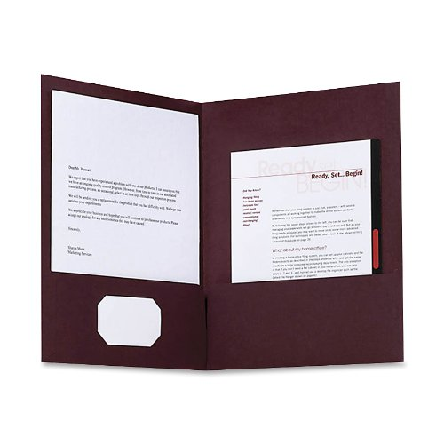 Oxford Linen Two-Pocket Folders, Burgundy, Letter Size, 5 per Pack, (50541)