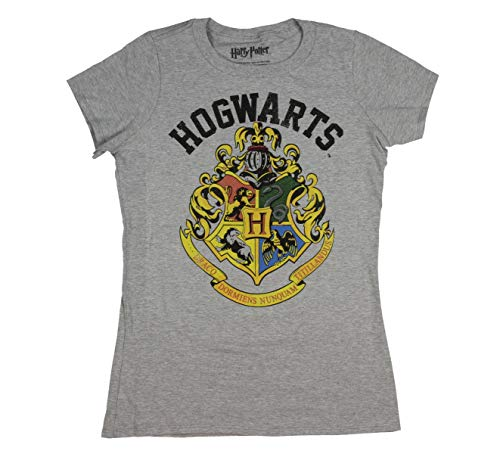 Harry Potter Shirt Distressed Hogwarts Crest Juniors Heather Tee T-Shirt ()