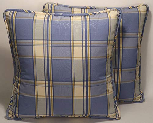 "A set of 2 18"" Blue and Cream Moire Plaid Fabric Handmade Decorative Throw Pillow Covers"