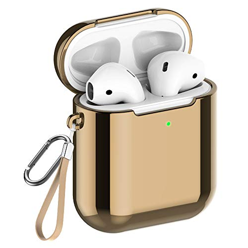 REFLYING Case Compatible for AirPods [1st and 2nd Gen], Soft TPU Plated Case Shockproof Protective Cover Compatible with Apple AirPods & AirPods 2019 [Front LED Visible] - Gold