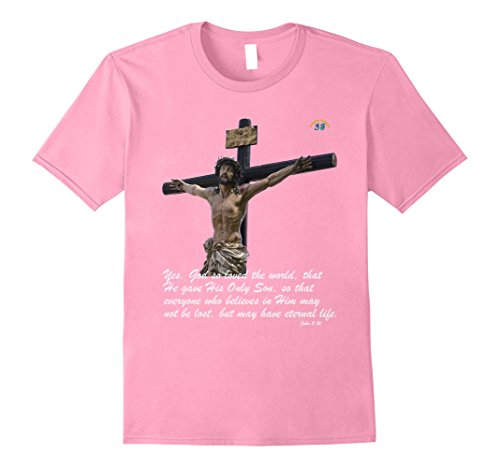 Mens John 3:16 For God So Loved The World T-Shirt - Premium Small Pink