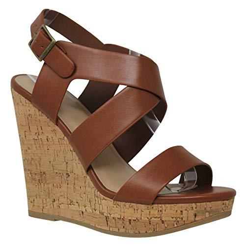 MVE Shoes Women's Open Toe Strappy High Heeled Platforms, Ontario TAN PU 9