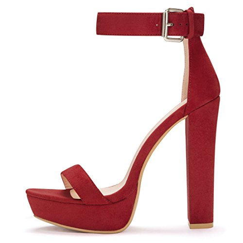 Allegra K Womens Cinturino Alla Caviglia Con Tacco Alto Rosso